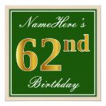 [ Thumbnail: Elegant, Green, Faux Gold 62nd Birthday + Name Invitation ]