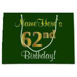 [ Thumbnail: Elegant, Green, Faux Gold 62nd Birthday + Name Gift Bag ]