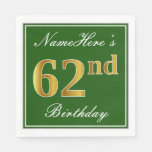 [ Thumbnail: Elegant Green, Faux Gold 62nd Birthday + Name Napkin ]