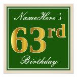 [ Thumbnail: Elegant, Green, Faux Gold 63rd Birthday + Name Invitation ]
