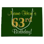 [ Thumbnail: Elegant, Green, Faux Gold 63rd Birthday + Name Gift Bag ]