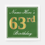 [ Thumbnail: Elegant Green, Faux Gold 63rd Birthday + Name Napkin ]