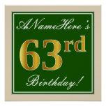 [ Thumbnail: Elegant, Green, Faux Gold 63rd Birthday + Name Poster ]