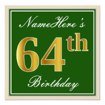 Elegant, Green, Faux Gold 64th Birthday   Name Card