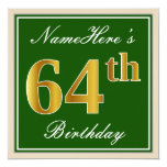 [ Thumbnail: Elegant, Green, Faux Gold 64th Birthday + Name Invitation ]