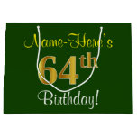 [ Thumbnail: Elegant, Green, Faux Gold 64th Birthday + Name Gift Bag ]