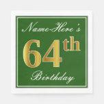 [ Thumbnail: Elegant Green, Faux Gold 64th Birthday + Name Napkin ]