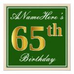 [ Thumbnail: Elegant, Green, Faux Gold 65th Birthday + Name Invitation ]