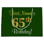 [ Thumbnail: Elegant, Green, Faux Gold 65th Birthday + Name Gift Bag ]