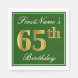 [ Thumbnail: Elegant Green, Faux Gold 65th Birthday + Name Paper Napkin ]