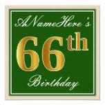 [ Thumbnail: Elegant, Green, Faux Gold 66th Birthday + Name Invitation ]