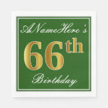 [ Thumbnail: Elegant Green, Faux Gold 66th Birthday + Name Napkin ]