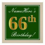 [ Thumbnail: Elegant, Green, Faux Gold 66th Birthday + Name Poster ]