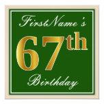 [ Thumbnail: Elegant, Green, Faux Gold 67th Birthday + Name Invitation ]