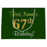[ Thumbnail: Elegant, Green, Faux Gold 67th Birthday + Name Gift Bag ]