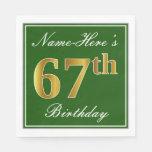 [ Thumbnail: Elegant Green, Faux Gold 67th Birthday + Name Napkin ]