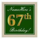 [ Thumbnail: Elegant, Green, Faux Gold 67th Birthday + Name Poster ]