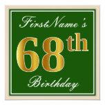[ Thumbnail: Elegant, Green, Faux Gold 68th Birthday + Name Invitation ]