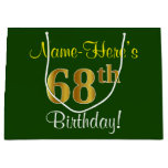[ Thumbnail: Elegant, Green, Faux Gold 68th Birthday + Name Gift Bag ]