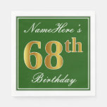 [ Thumbnail: Elegant Green, Faux Gold 68th Birthday + Name Napkin ]