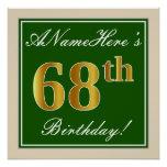 [ Thumbnail: Elegant, Green, Faux Gold 68th Birthday + Name Poster ]
