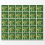[ Thumbnail: Elegant, Green, Faux Gold 68th Birthday + Name Wrapping Paper ]