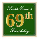 [ Thumbnail: Elegant, Green, Faux Gold 69th Birthday + Name Invitation ]