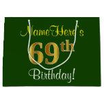 [ Thumbnail: Elegant, Green, Faux Gold 69th Birthday + Name Gift Bag ]
