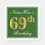 [ Thumbnail: Elegant Green, Faux Gold 69th Birthday + Name Paper Napkin ]