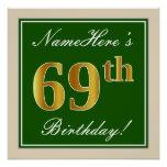 [ Thumbnail: Elegant, Green, Faux Gold 69th Birthday + Name Poster ]