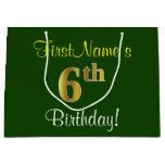 [ Thumbnail: Elegant, Green, Faux Gold 6th Birthday + Name Gift Bag ]