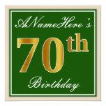 [ Thumbnail: Elegant, Green, Faux Gold 70th Birthday + Name Invitation ]