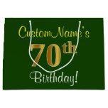 [ Thumbnail: Elegant, Green, Faux Gold 70th Birthday + Name Gift Bag ]