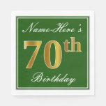[ Thumbnail: Elegant Green, Faux Gold 70th Birthday + Name Paper Napkin ]