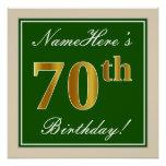 [ Thumbnail: Elegant, Green, Faux Gold 70th Birthday + Name Poster ]