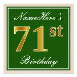 [ Thumbnail: Elegant, Green, Faux Gold 71st Birthday + Name Invitation ]