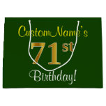[ Thumbnail: Elegant, Green, Faux Gold 71st Birthday + Name Gift Bag ]