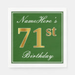 [ Thumbnail: Elegant Green, Faux Gold 71st Birthday + Name Paper Napkin ]