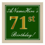 [ Thumbnail: Elegant, Green, Faux Gold 71st Birthday + Name Poster ]