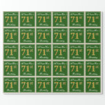 [ Thumbnail: Elegant, Green, Faux Gold 71st Birthday + Name Wrapping Paper ]