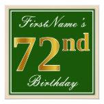 [ Thumbnail: Elegant, Green, Faux Gold 72nd Birthday + Name Invitation ]