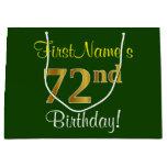 [ Thumbnail: Elegant, Green, Faux Gold 72nd Birthday + Name Gift Bag ]