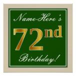 [ Thumbnail: Elegant, Green, Faux Gold 72nd Birthday + Name Poster ]
