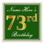 [ Thumbnail: Elegant, Green, Faux Gold 73rd Birthday + Name Invitation ]