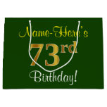 [ Thumbnail: Elegant, Green, Faux Gold 73rd Birthday + Name Gift Bag ]