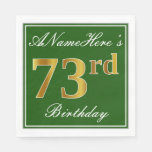 [ Thumbnail: Elegant Green, Faux Gold 73rd Birthday + Name Napkin ]
