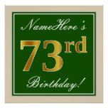 [ Thumbnail: Elegant, Green, Faux Gold 73rd Birthday + Name Poster ]