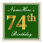 [ Thumbnail: Elegant, Green, Faux Gold 74th Birthday + Name Invitation ]