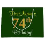 [ Thumbnail: Elegant, Green, Faux Gold 74th Birthday + Name Gift Bag ]