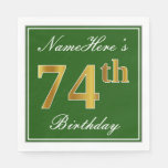 [ Thumbnail: Elegant Green, Faux Gold 74th Birthday + Name Napkin ]